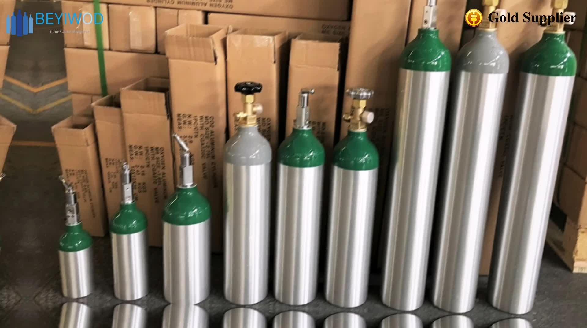 Yeni alüminyum silindir CO2 tankı silindir tıbbi oksijen gaz silindirleri