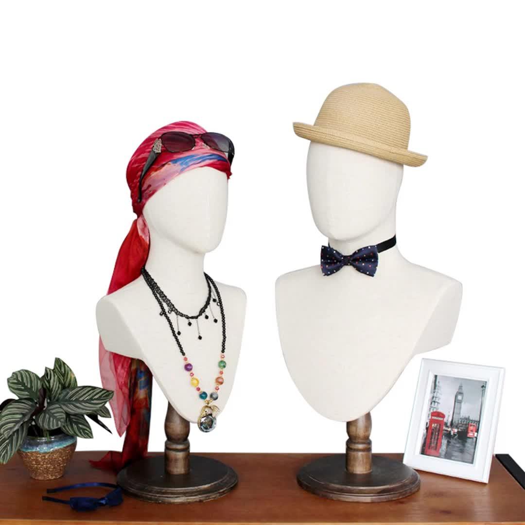 Tela di canapa tessuto di lino copertura del cuscino vintage astratta manichino testa senza capelli per il cappello e sciarpa di visualizzazione