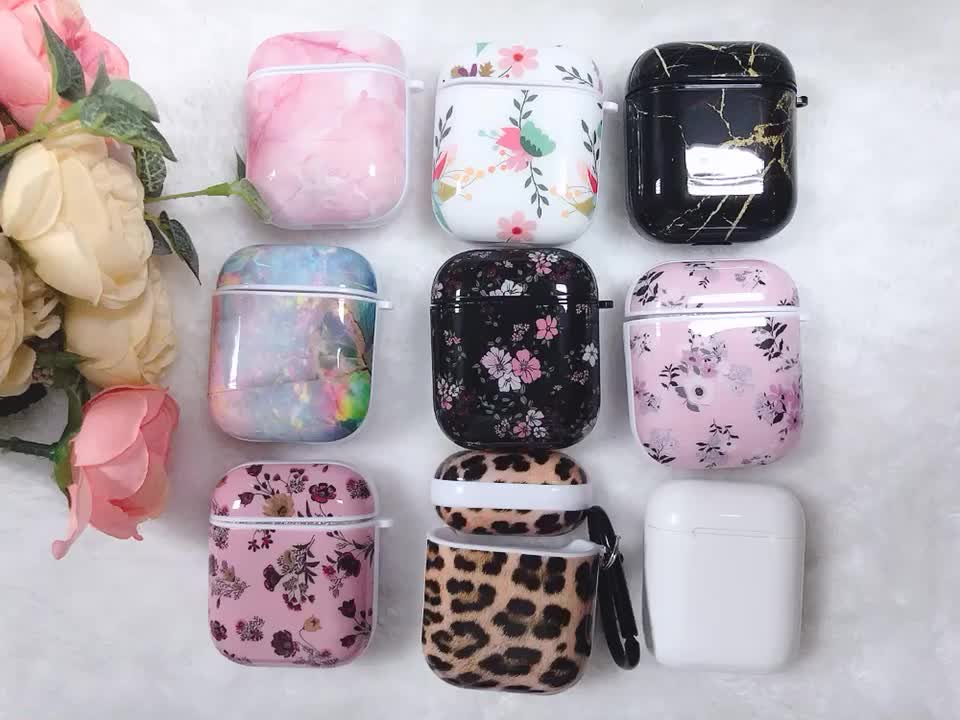 New Online Luxury Floral IMD Print Marble TPU Cover Case for AirPod 2/1