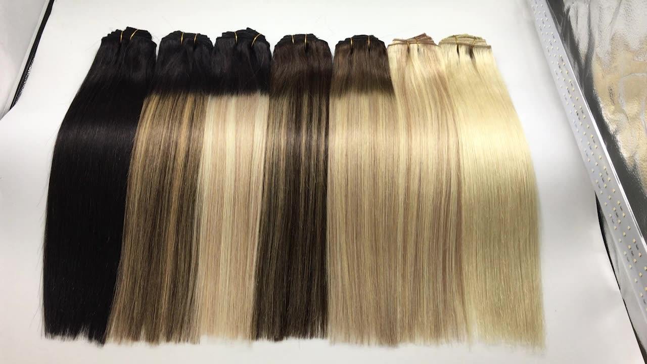 Wholesale human virgin peruvian hair clip in human hair extensions