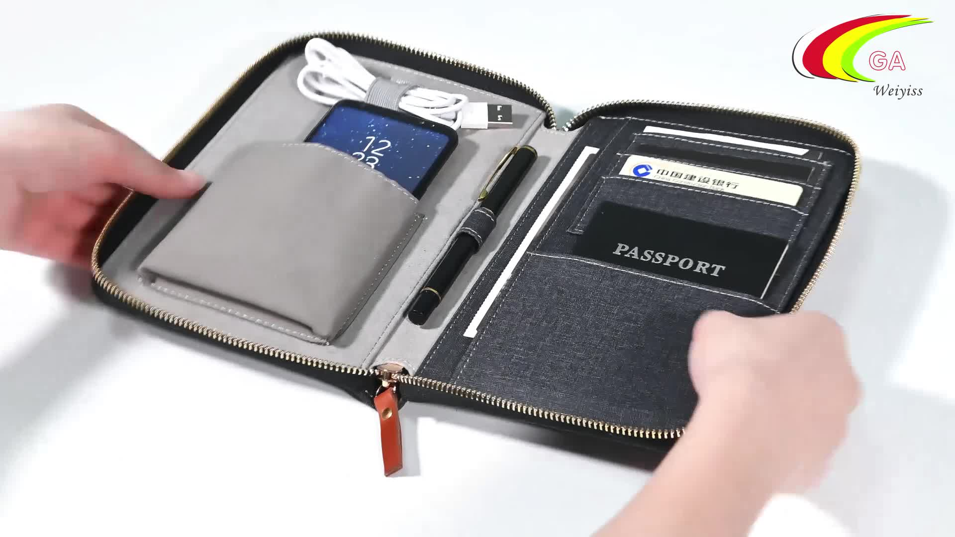 Custom High Quality Office Use Custom Size Zipper Closure Business Portfolio