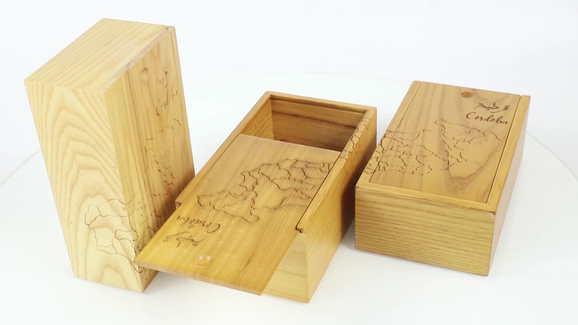 מותאם אישית טבעי עץ צבע אלון פשוט בושם קוסמטיקה תיבת עץ עם מעודן לייזר לוגו