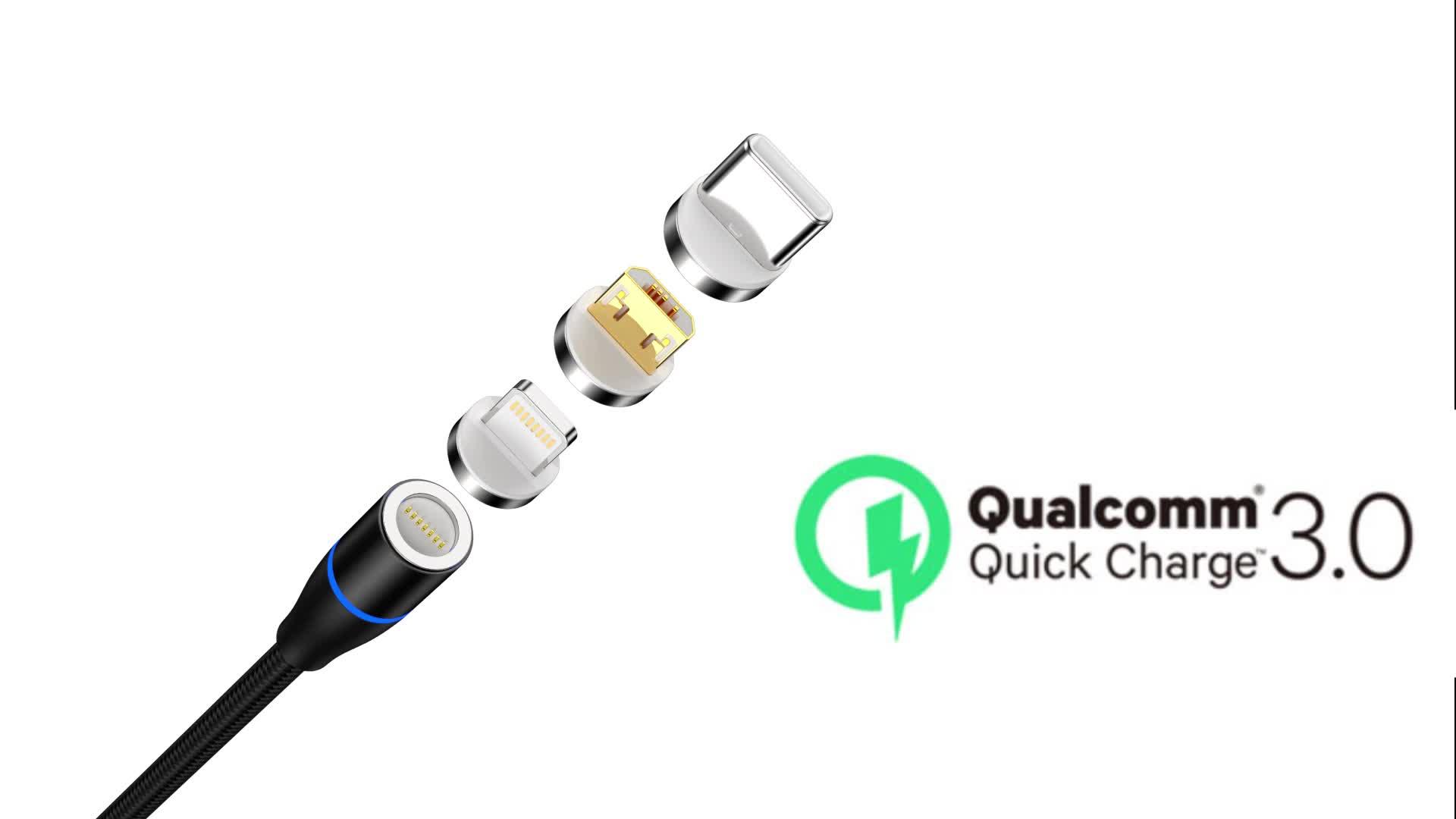 Fábrica 3 en 1 imán trenzado Cable cargador de teléfono móvil 1 M 360 LED redondo de carga magnética USB Cable de datos