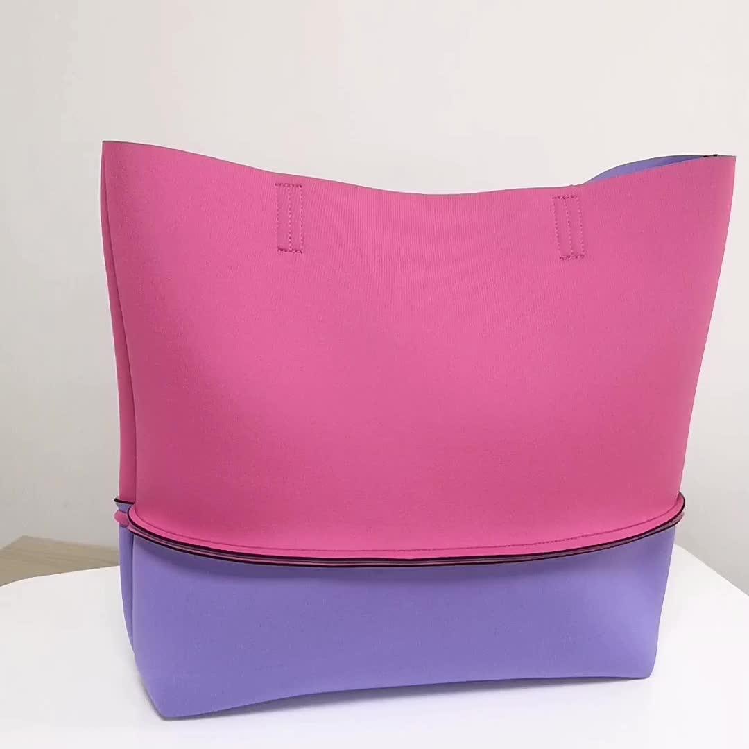 Custom Fashion Portable Eco Reusable Women Handbag Shopping Tote Neoprene Beach Bag