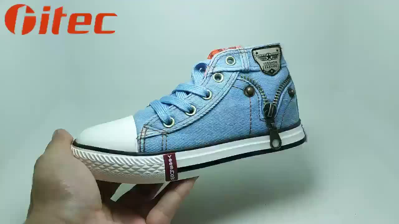 Wholesale high quality stock discount free sample children zipper sneaker kids boys new model high top shoes canvas boots
