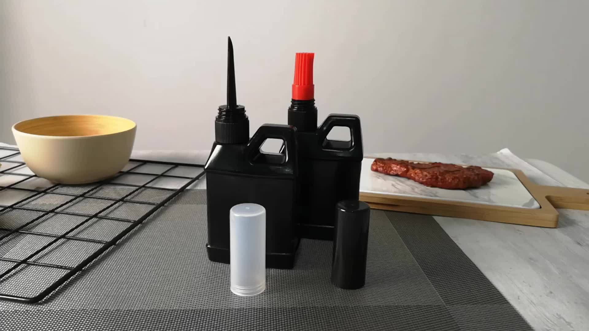 fancy long thin tip 250ml olive BBQ oil sauce and vinegar bottle  with brush