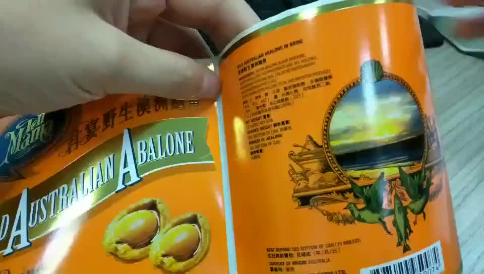 Custom food can label roll, premium glossy food label sticker, sticky strong sticker for cans