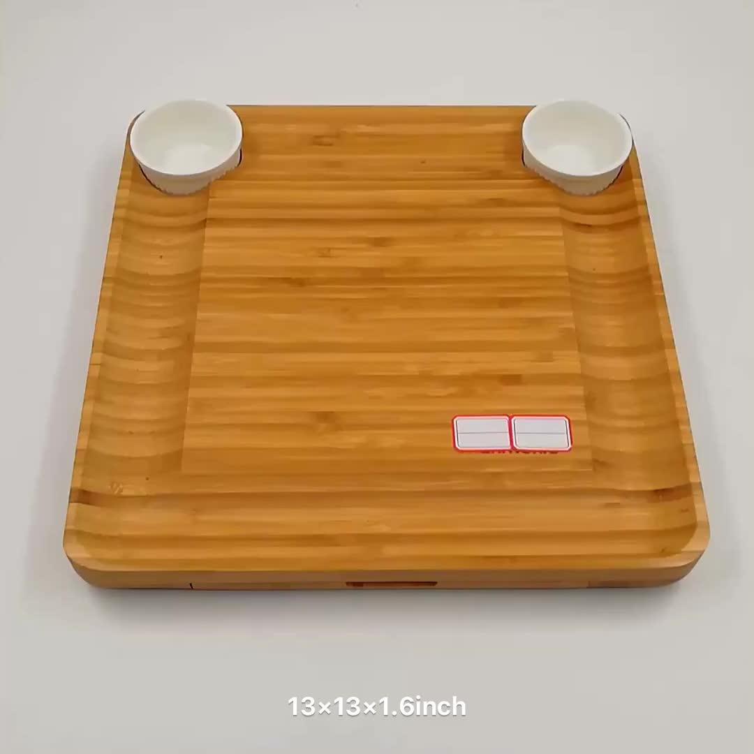 100% 자연 대나무 나무 치즈 보드 & 칼 슬라이드 서랍