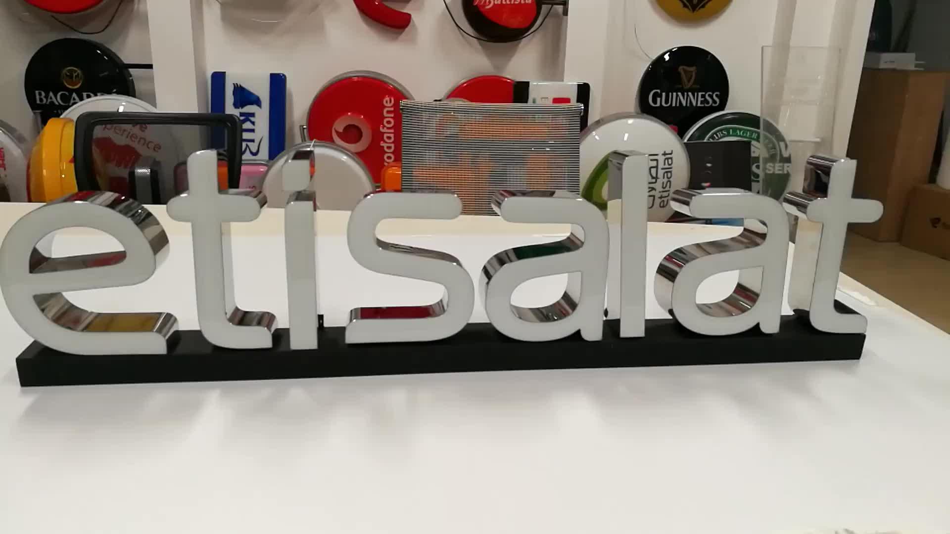 Nome da loja de montagem na parede elétrica exibição signage 3D publicidade iluminação letras de acrílico