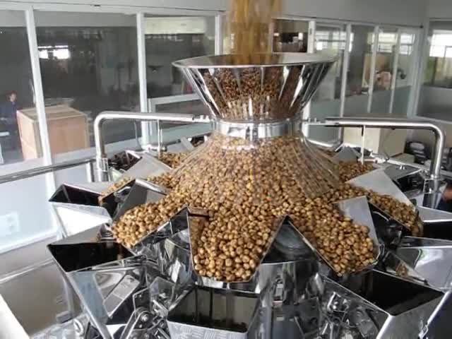 Full packing line intrgates 6head linear weigher vertical form fill seal machine Z shape conveyor for packing oatmeal granules