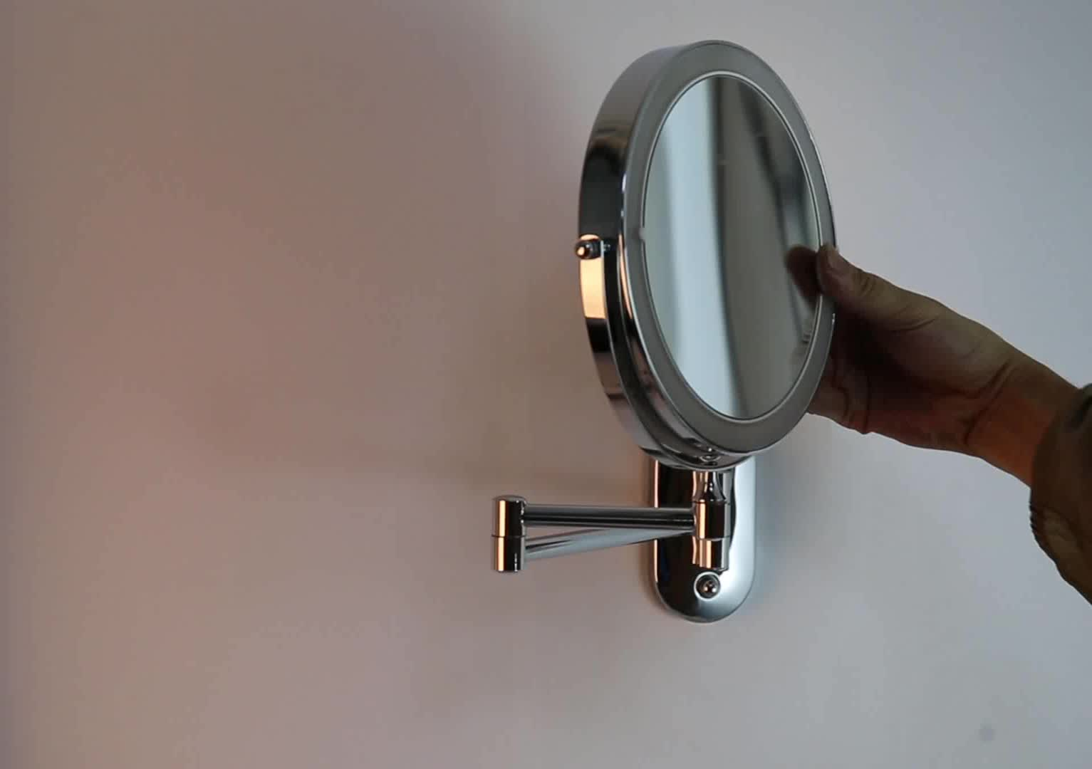 Battery Lighted Feature Wall Moutned Swivel Cosmetic Mirror Bathroom Furniture