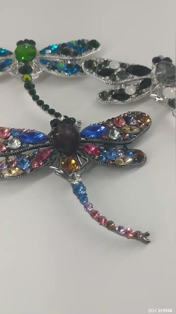 Vintage Fashion Colorful Rhinestone Crystal Dragonfly Animal Brooches Women Wholesale