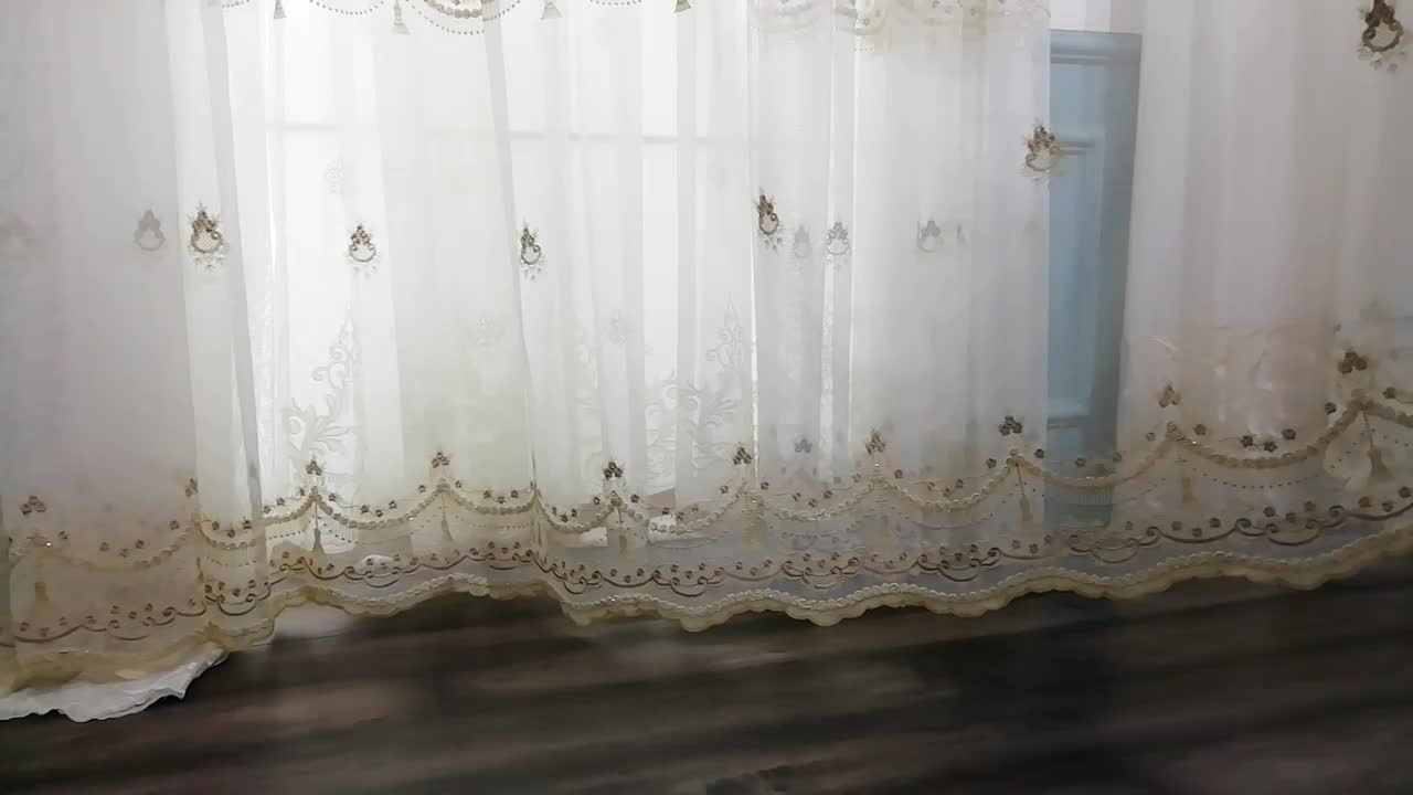 Ready To Ship Window Cheap White Sheer Turkish Curtains Embroidery For Living Room