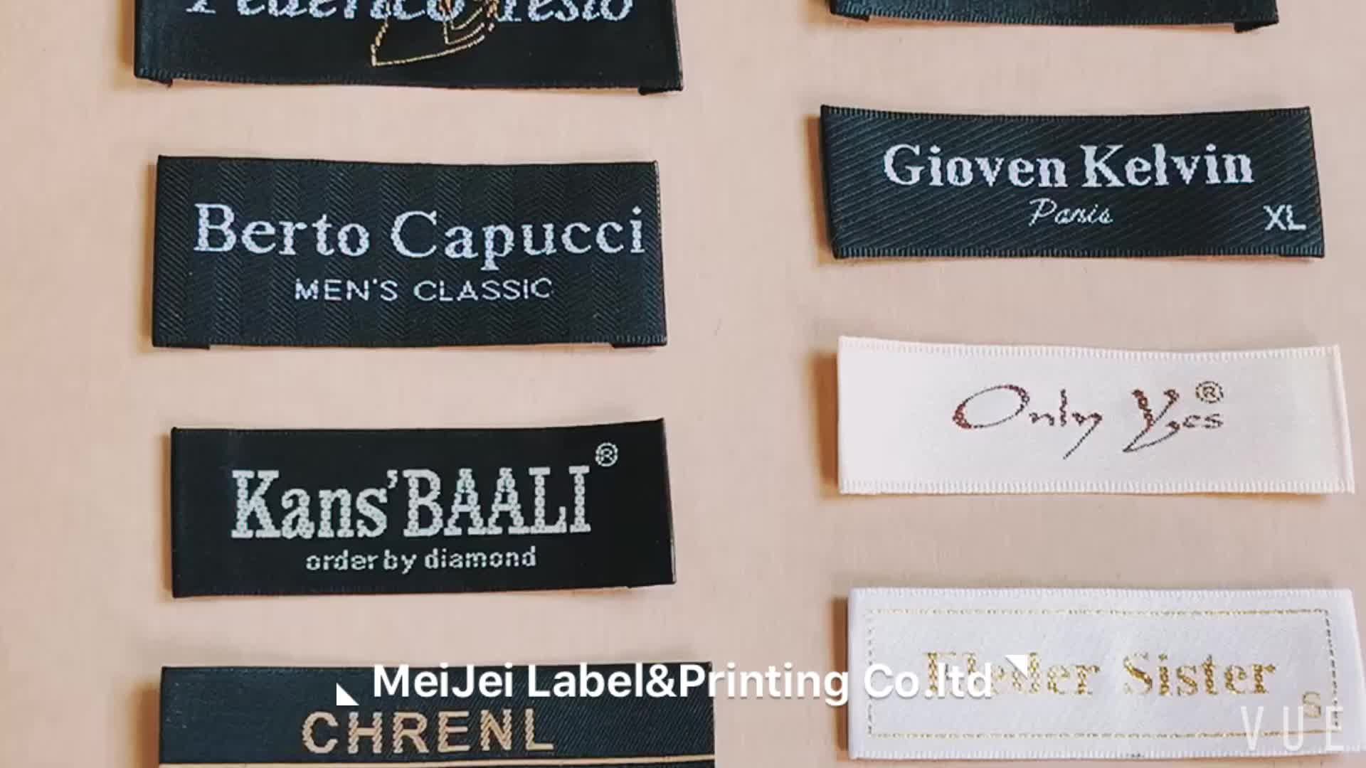 Custom cheap damask garment woven labels for clothing