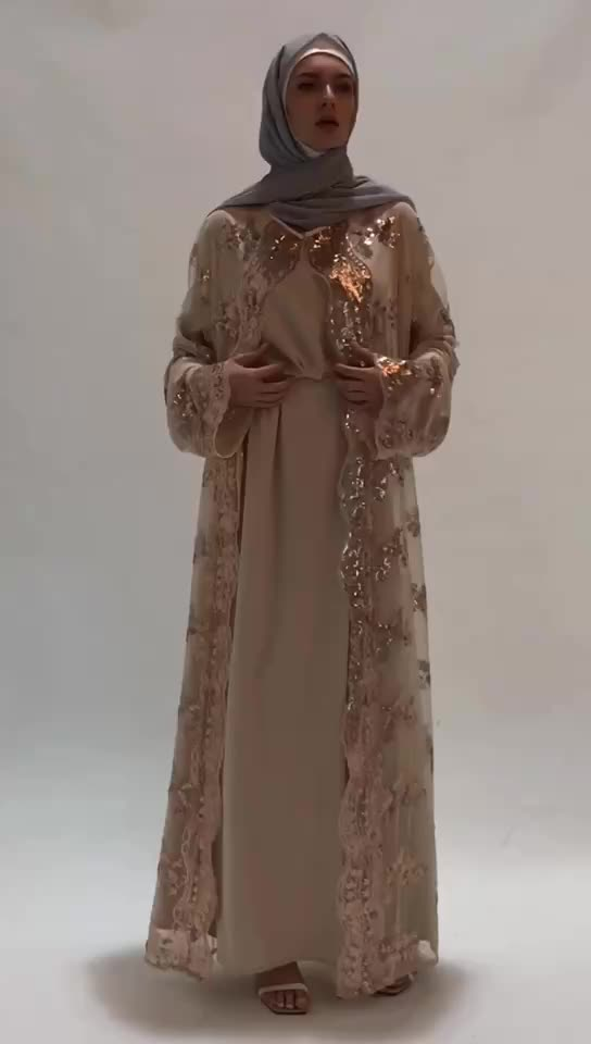 Women Dress Muslim Lady Lace with sequins Long Sleeves Abaya muslim clothing 2019