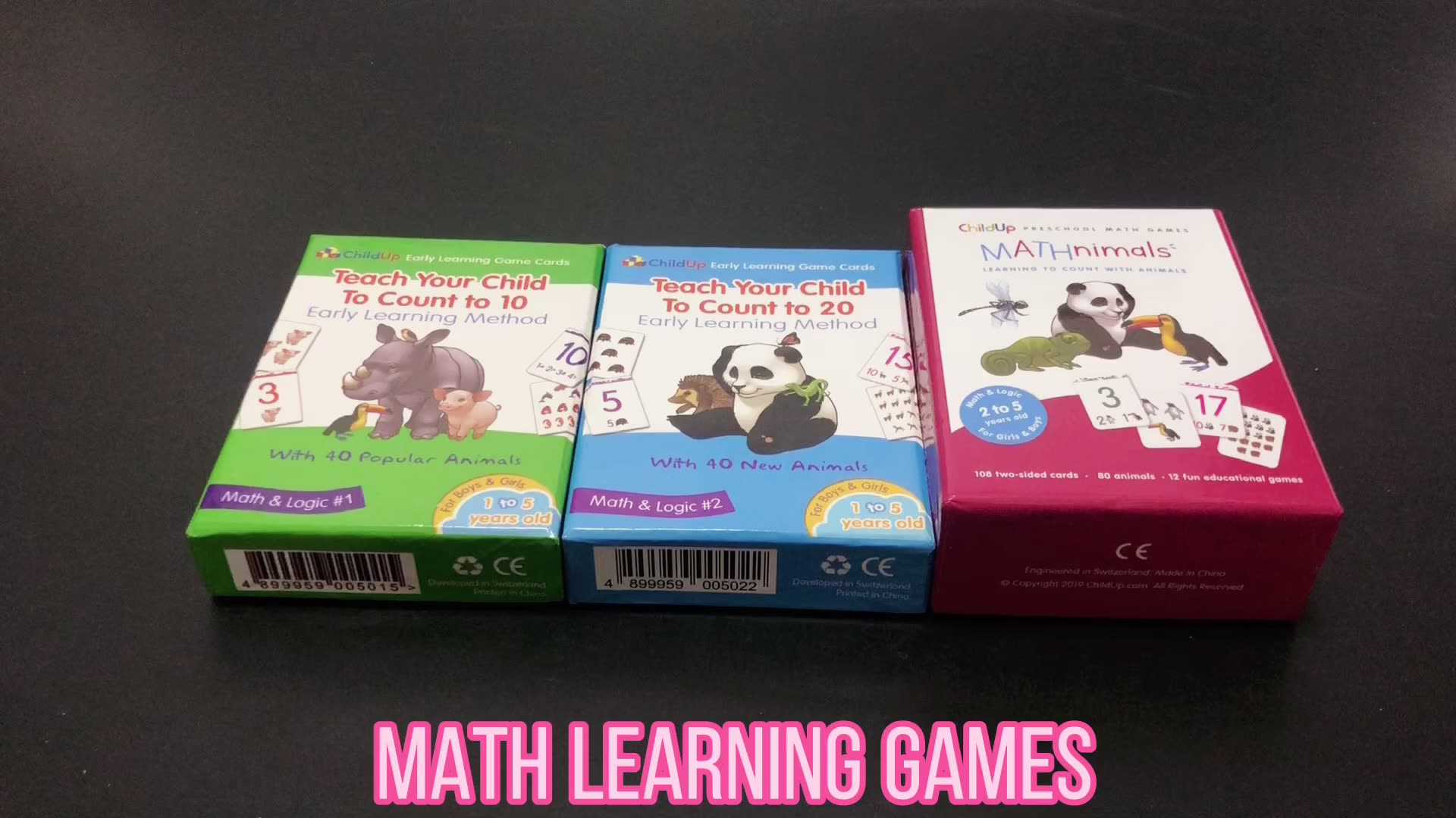 Custom math numbers kids early learning game flash memory cards with animals