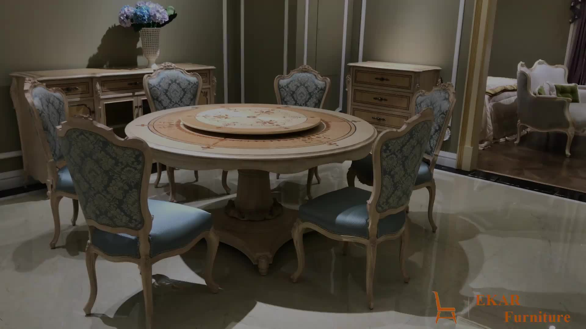 Luxury Shell Decoration Round Shaped Ash Wooden Dining Table