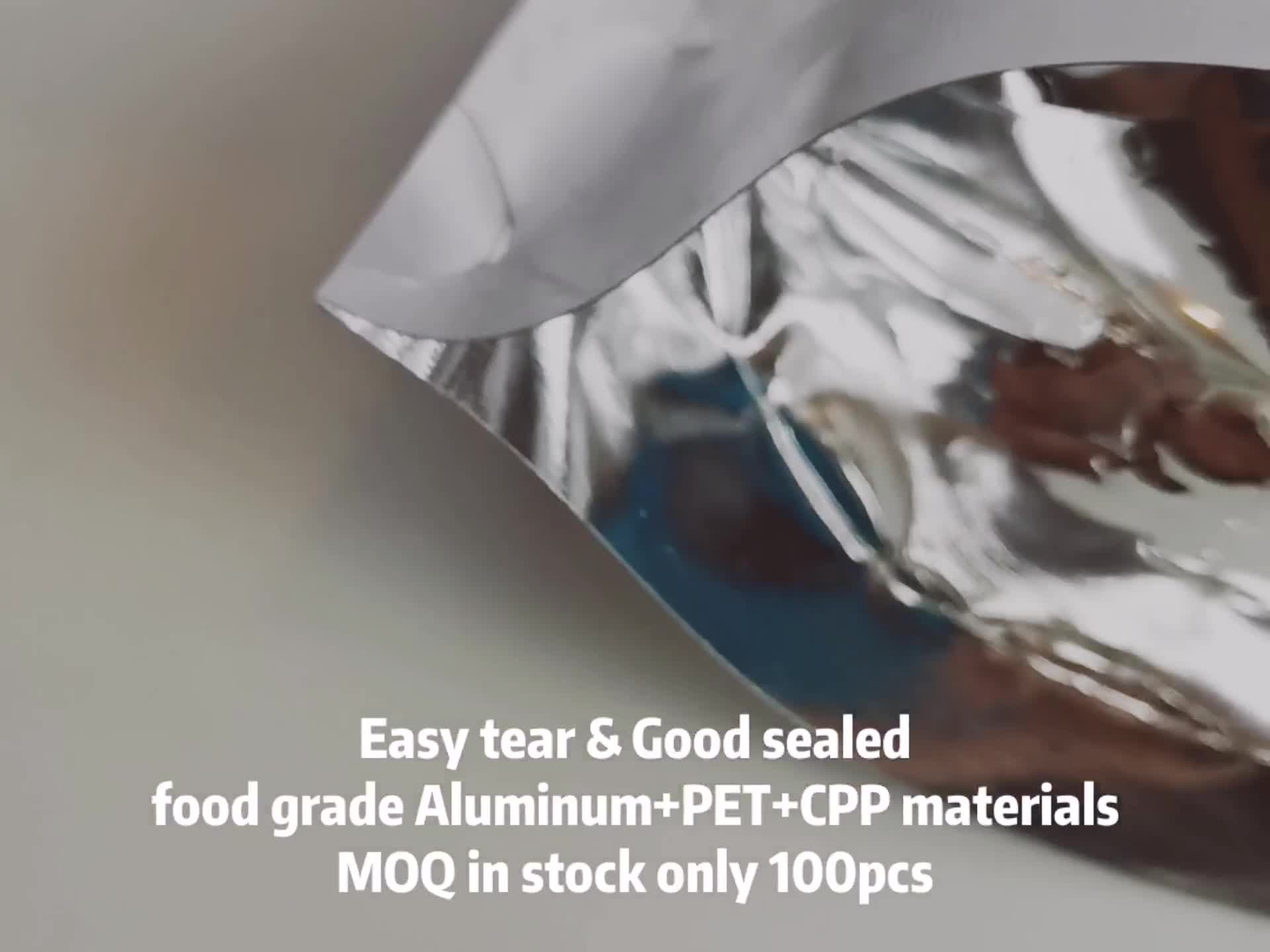 "100 स्पष्ट सामने एल्यूमीनियम पन्नी खड़े हो जाओ के पैक पैकेज बैग Mylar ज़िप ताला खाद्य पाउच 9x14cm 3.5x5.5"""
