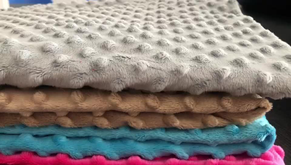 Super Doux Bébé Plaine Câliner En Relief Minky Dot En Peluche Tissu Pour Couverture