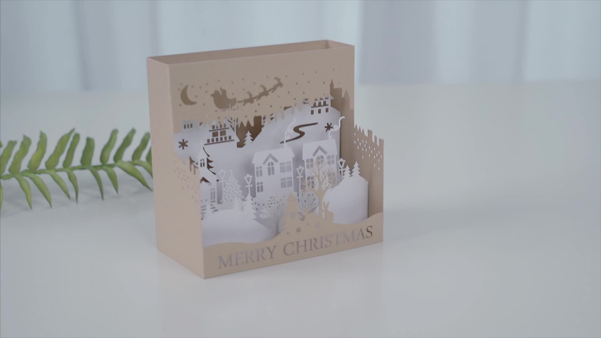 Customize pop up christmas gift gold foil greeting card