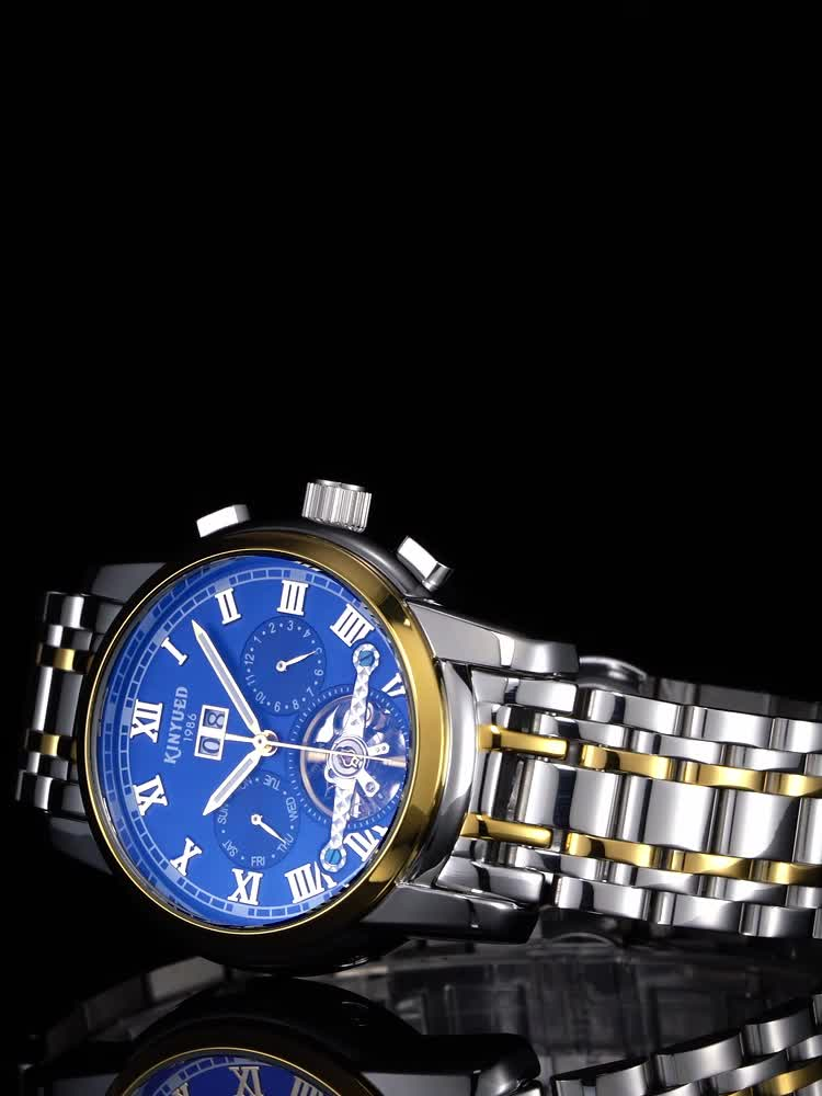 KINYUED High quality  Tourbillon automatic mechanical movement stainless steel band waterproof mens watch