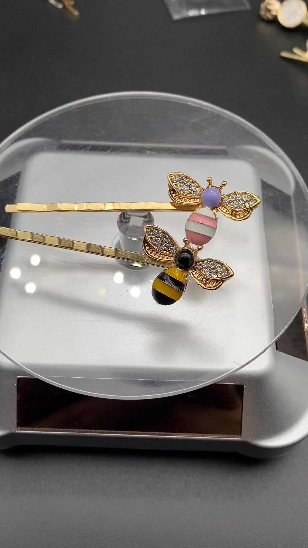 인기있는 일본 작은 컬러 꿀벌 세트 다이아몬드 헤어핀 여성 헤어 장식품