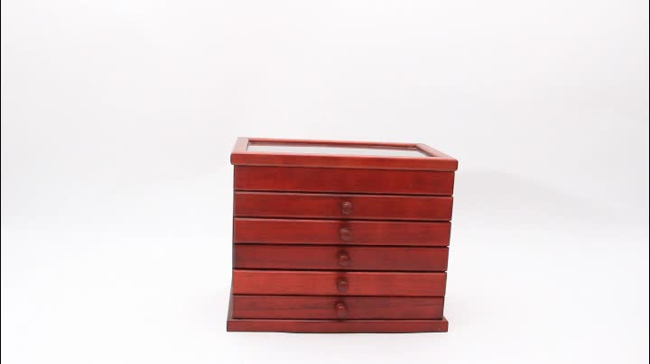 Customized luxury wedding jewelry display wooden box made in China