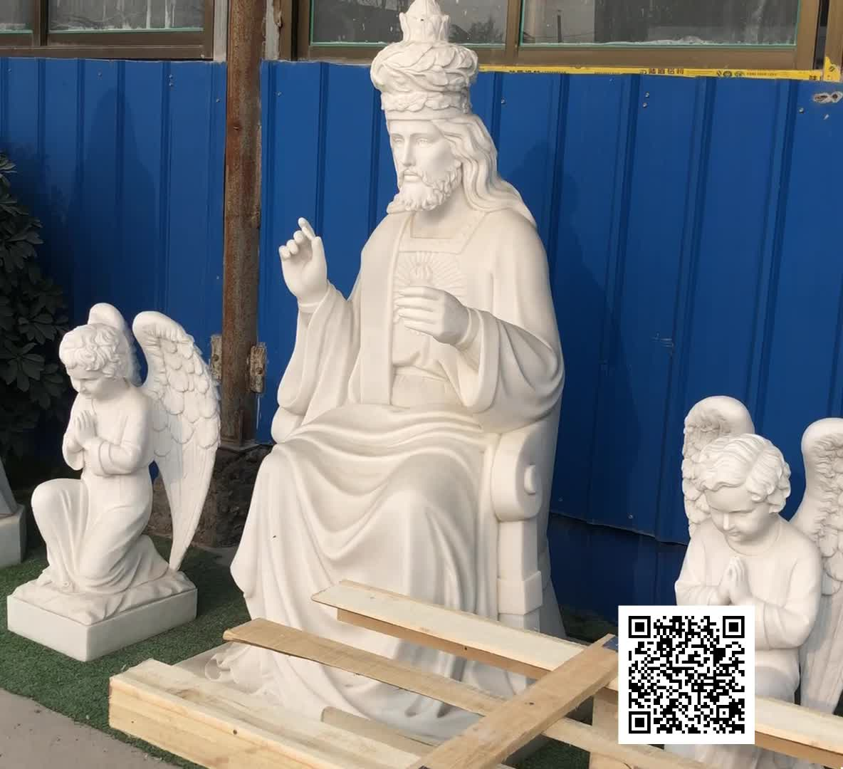 hand carving natural white marble old roman figure son of Alphaeus St James the Lesser
