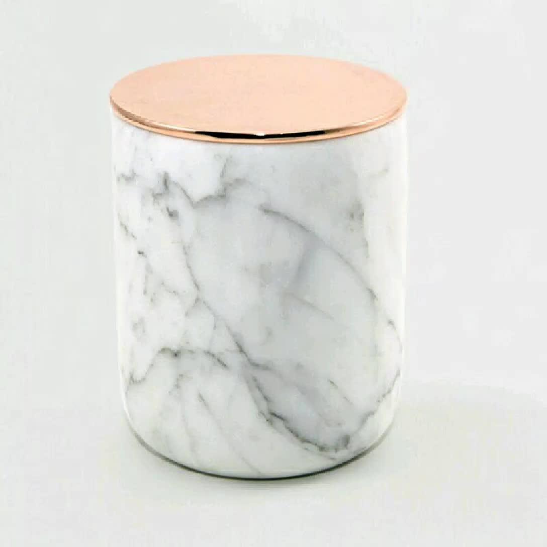 mais barato pedra natural de mármore de carrara jarra de vela com tampas de cobre, frasco de vela de mármore com tampa