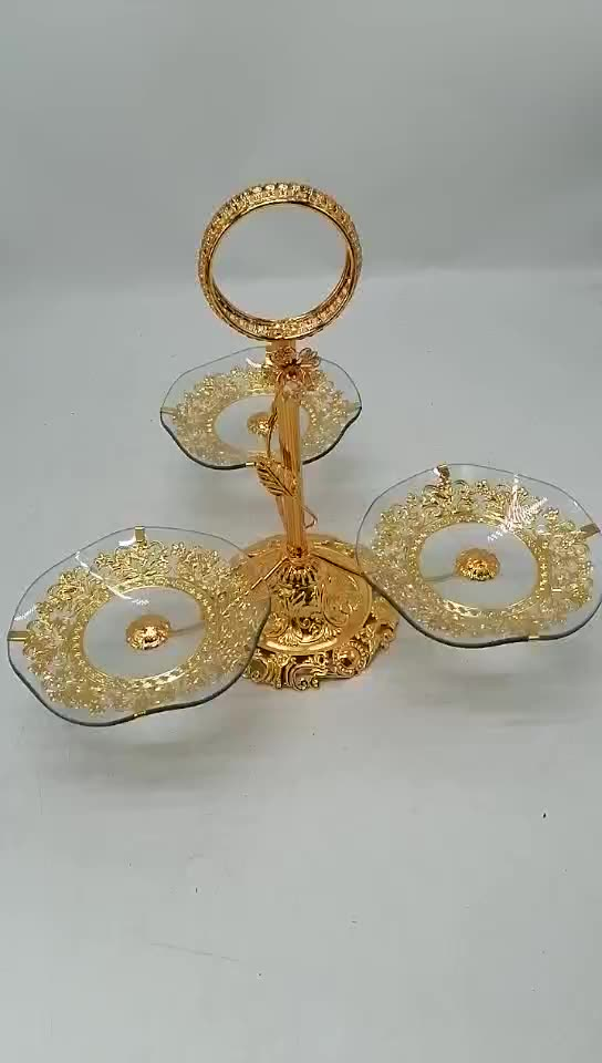 vintage 3 tire gold metal Toughened glass rotating cake stands hotel wedding party cakes serving trays tools luxury decorative