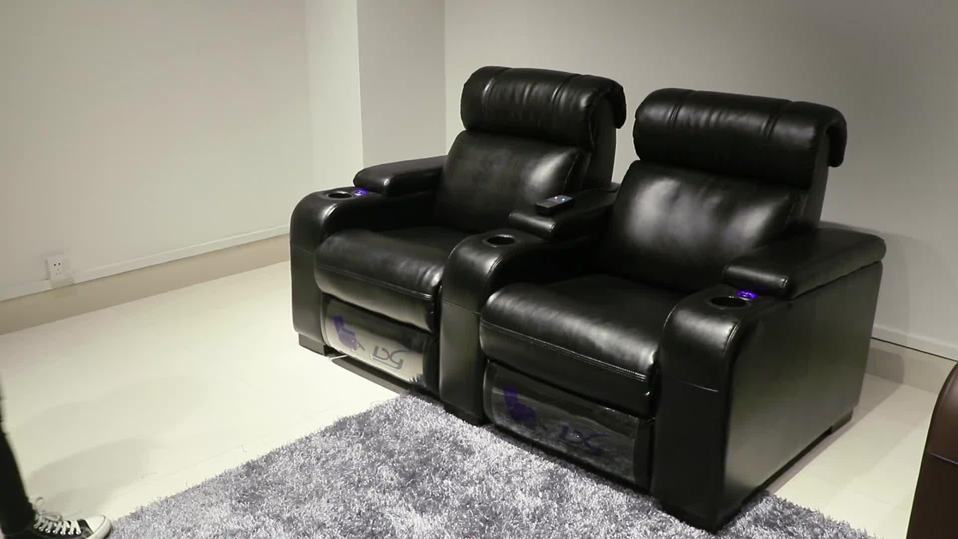 Moderno Cine Teatro relajarse habitación sofá de cuero conjunto manual mecanismo basculante de ascensor de asiento de auto masaje de 3 plazas sillón reclinable