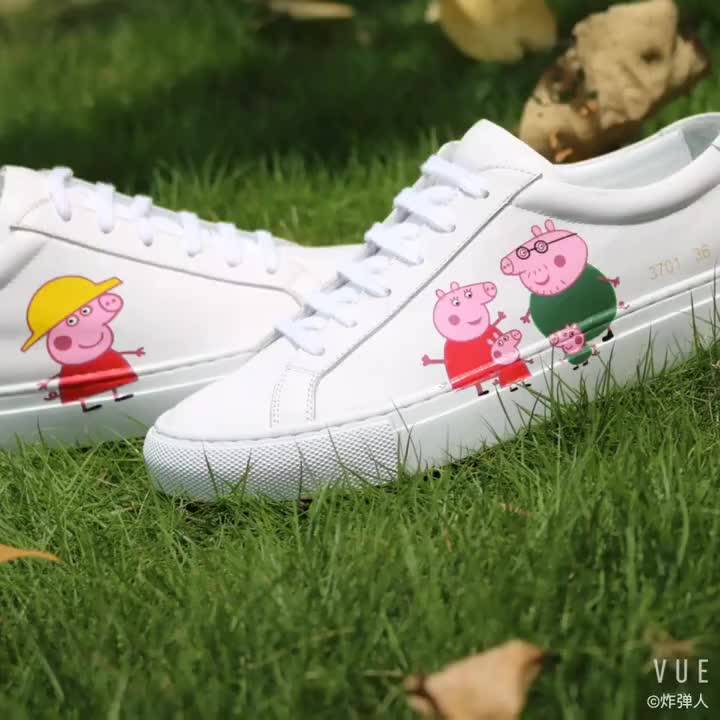 with sneakers white Peppa up lady Pig wholesale shoes leather lace genuine tqgwznIa