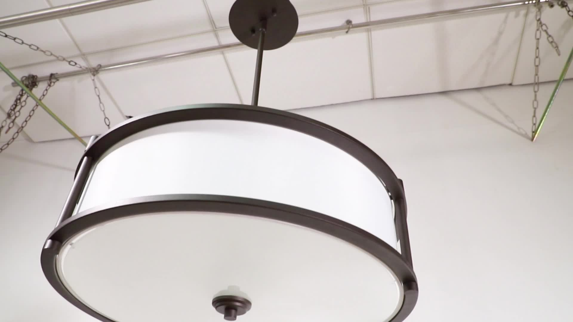 Home Decorative 3 Light Pendant Lighting 18 inch Drum Dark Bronze Pendant Light with Fabric Shade and Glass Diffuser