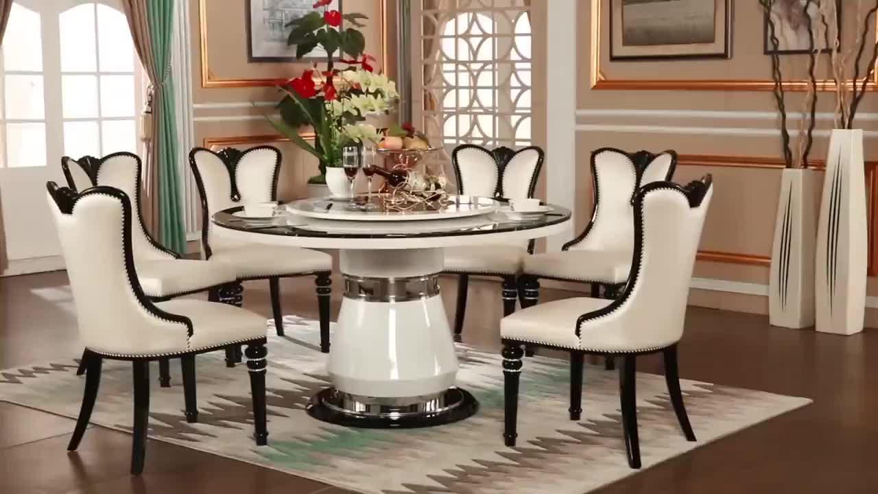 2018 neue Design Moderne Marmor Esstisch Set mit 6 Stühle
