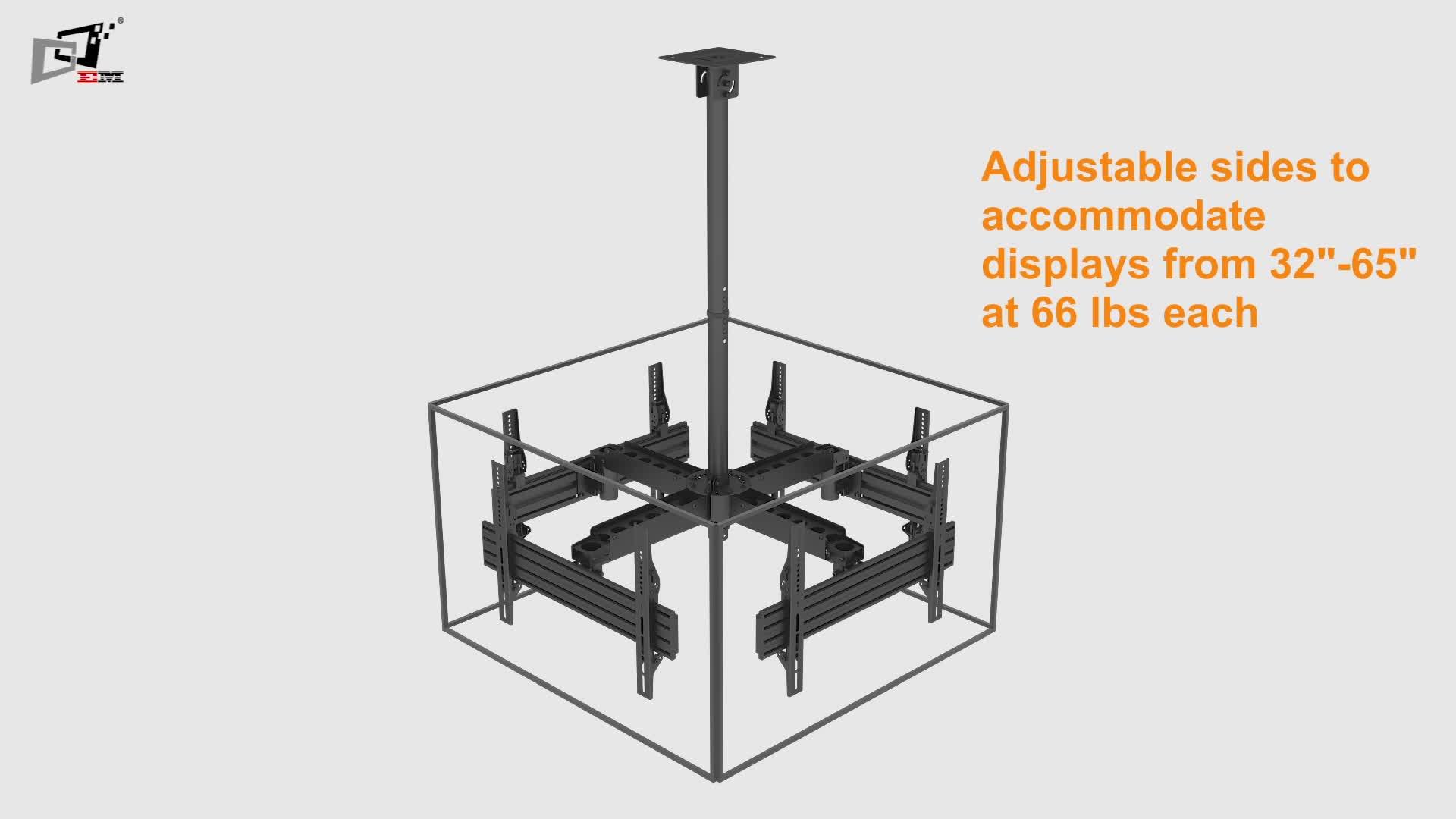 वाणिज्यिक पक्ष द्वारा साइड दीवार ब्रैकेट माउंट छत टीवी ट्रैक्टर स्क्रीन के लिए माउंट
