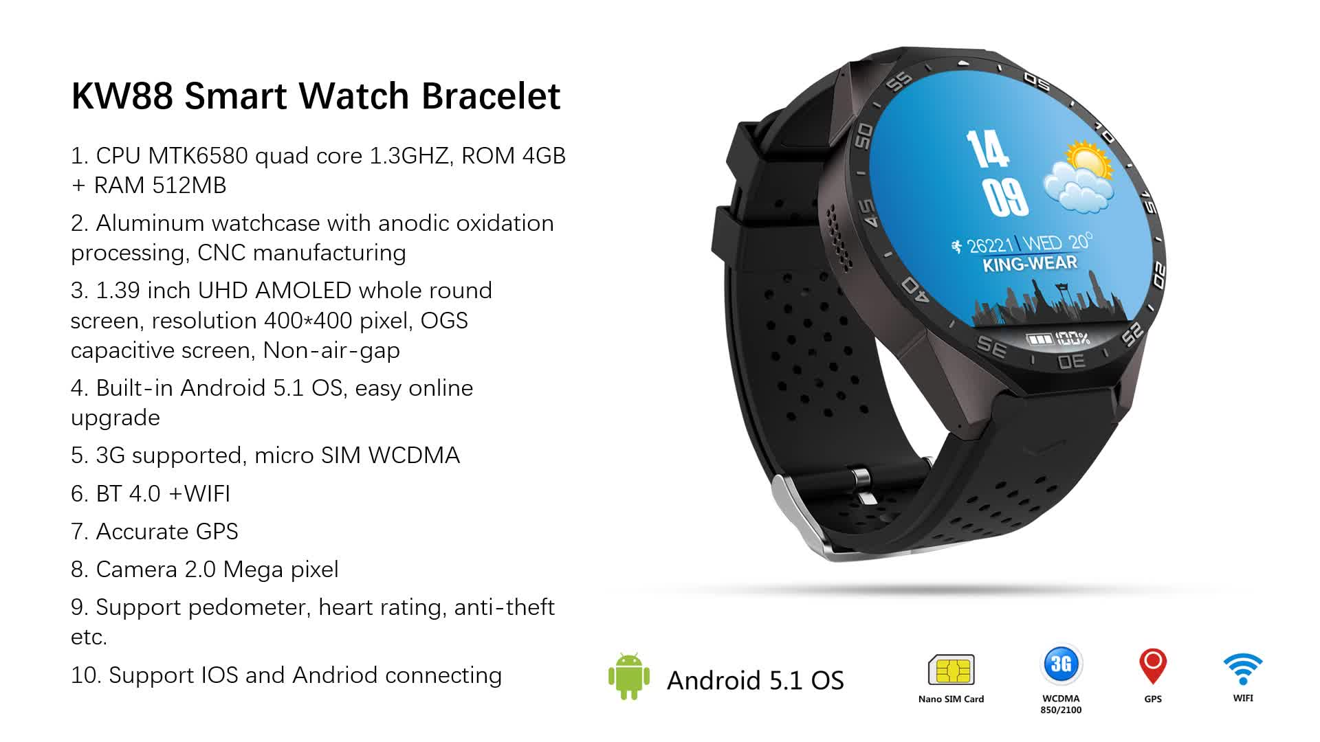 """High Quality 1.39"""" IPS Screen WCDMA 3G GPS Android Smart Watch KW88 With WiFi And 3G"""