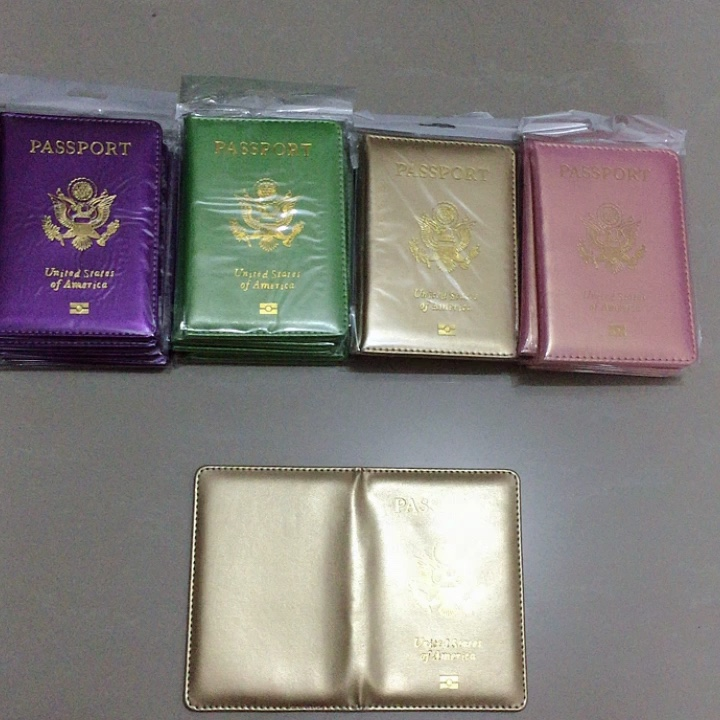 Customized The United States of America Passport Holder Shinny Surface Multi 8 Colors Gold Foiled Debossed  Passport Case PU