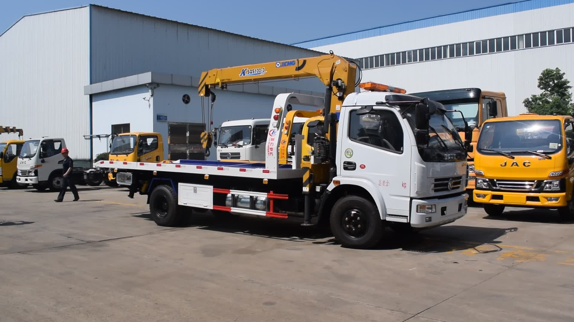 Dongfeng Kingrun Flat Bed Tray Wrecker Roll Back Tow Crane Truck Philippines