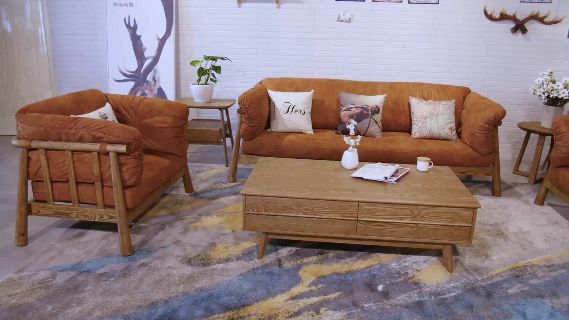 sponge Contracted country style  wood living room design sofa