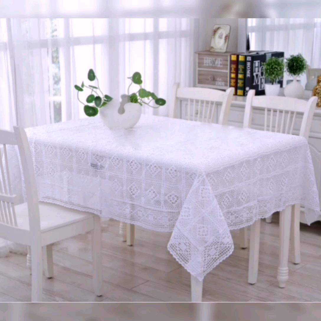 wholesale Rural Hand Crochet Cover Cotton lace Table Cloth  Hollow Table Cover