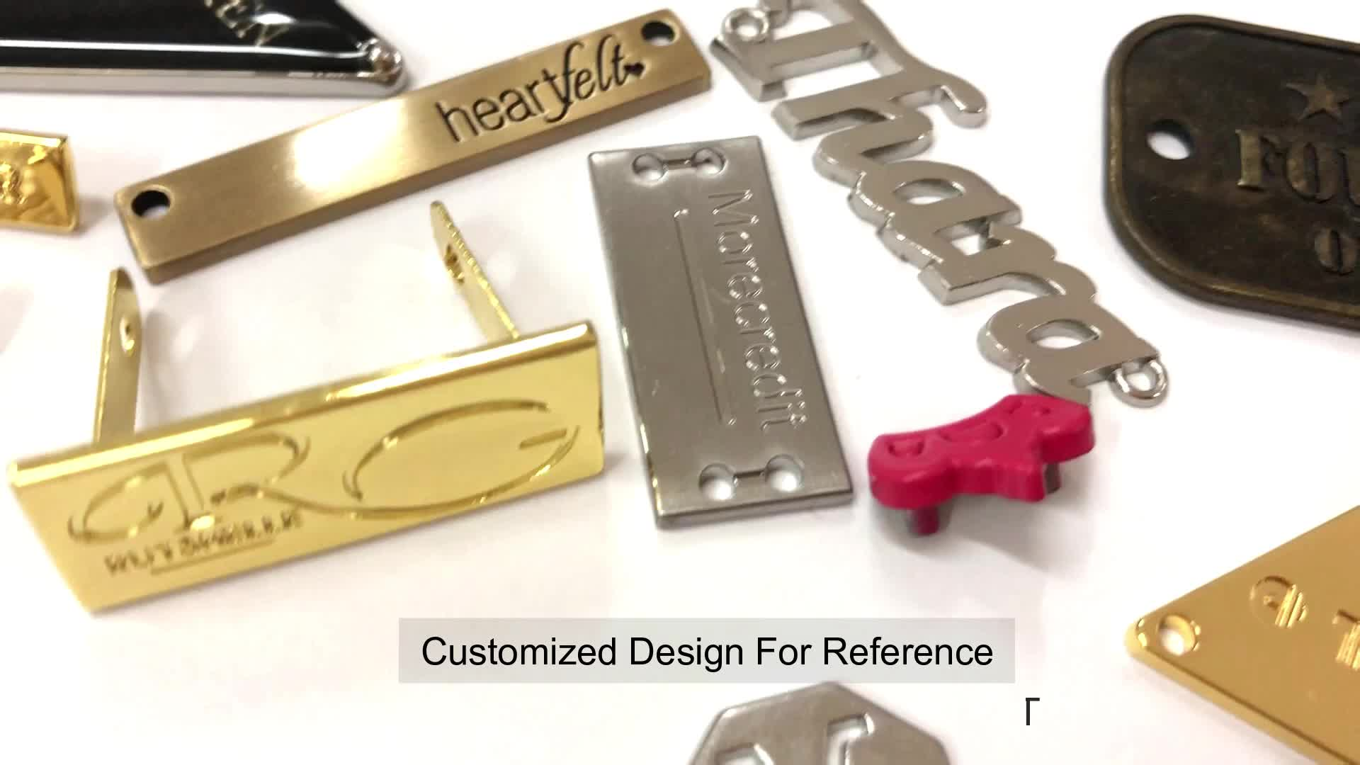 Custom Brand Logo Metal Name Tags Unique Design Free Sample Metal Logo Tags