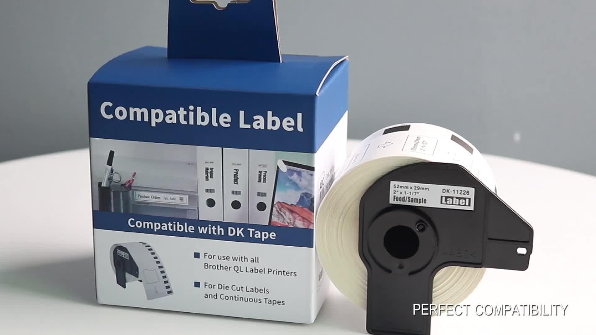गर्म बिक्री थोक डीके 22205 dk-22205 62mm * 30.48m के लिए थर्मल कागज प्रिंटर लेबल रोल भाई