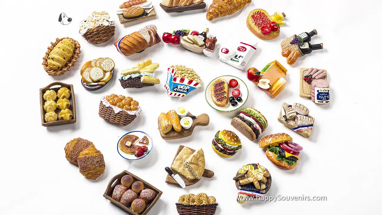 3D Handmade Resin Series Bread, Hamburger, Dessert Food Fridge Magnets for Kitchen Home Decoration