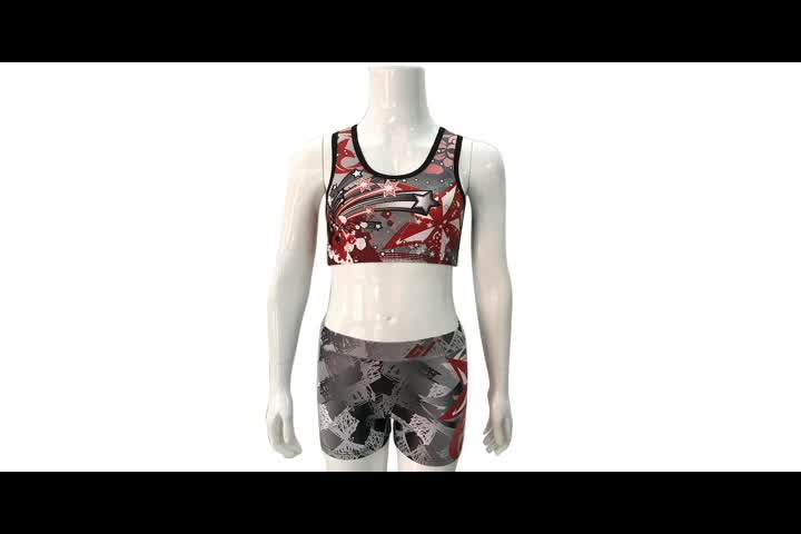 customized athletic wear high waist workout shorts cheer seamless sports bra adult cheerleading costumes