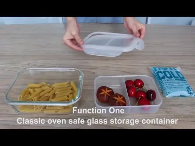 Double layer multi-function food organized container borosilicate glass box with compartments PP storage box