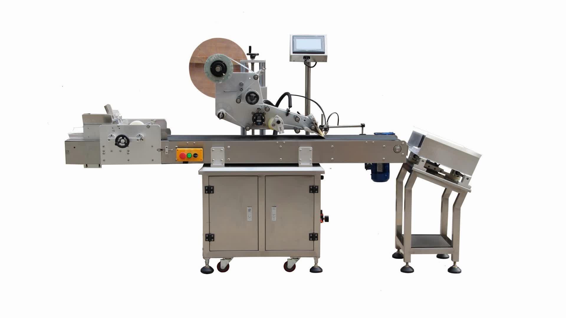 Automatische plastic zak etikettering machine en pouch sticker etikettering machine labeller