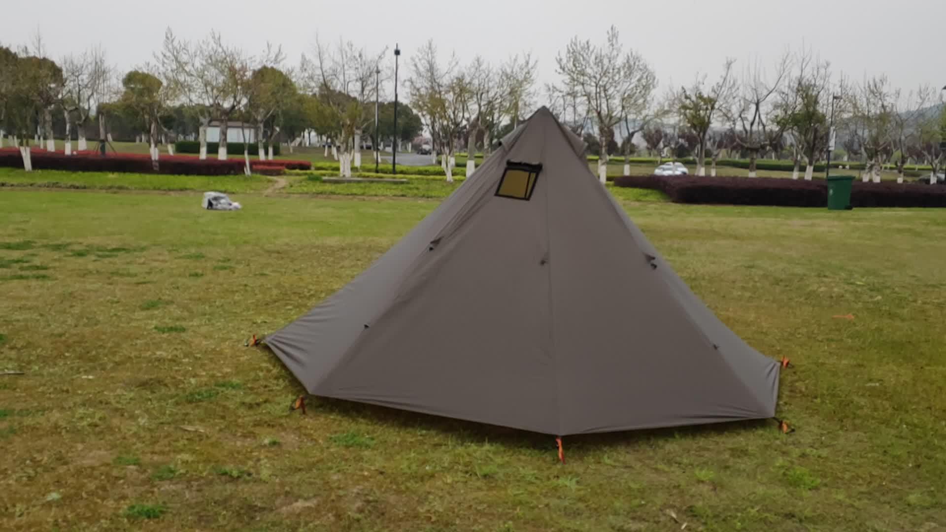 Fabriek Goedkope Hoge Kwaliteit Ultralight Outdoor Verwarmd 2 Persoon Piramide Polyester Tent