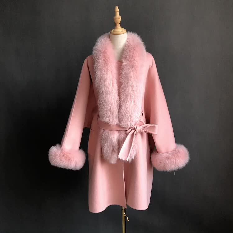 Pink Big Fox Fur Trim Front Oem Women Lady's Cashmere Coat Belt