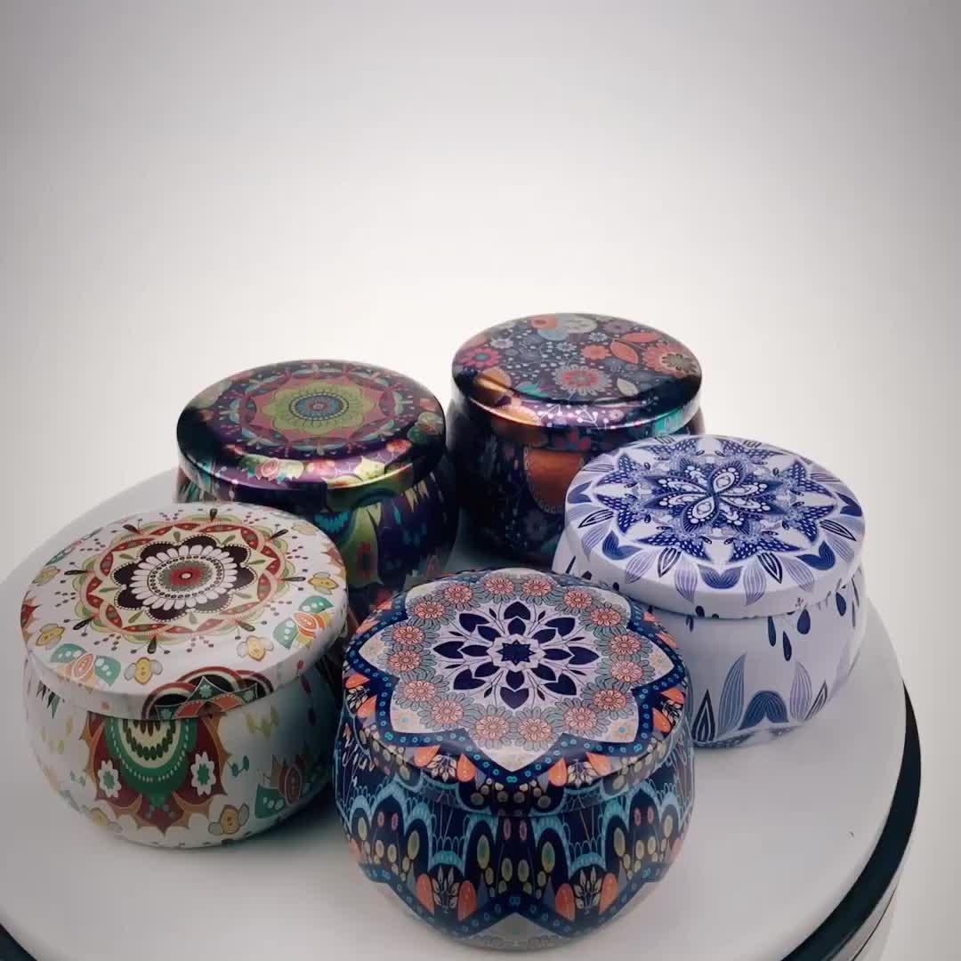 Stampa a colori del commercio all'ingrosso della decorazione del partito della caramella piccolo regalo di nozze di imballaggio di latta vuoto