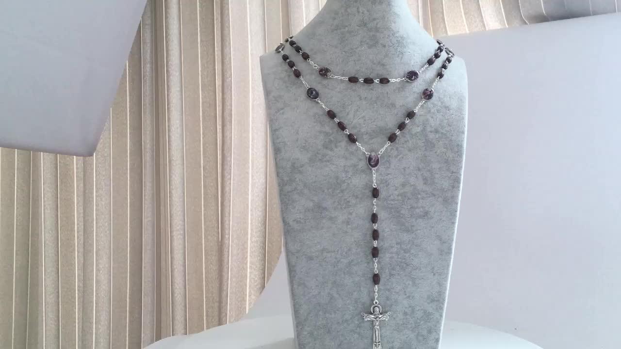 Handgemachte Exquisite Holz Perlen Katholischen Rosenkranz Halskette Mit Kreuz Anhänger